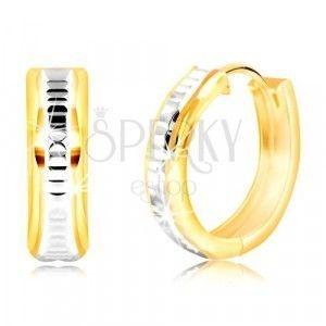Okrągłe14K złote kolczyki z karbowanym pasem z białego złota obraz
