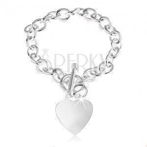 Srebrna bransoletka 925, owalne ogniwa łańcuszka, płaskie i lśniące serce obraz