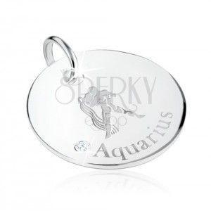 Srebrny wisiorek 925 - znak Zodiaku WODNIK, przezroczysta cyrkonia obraz