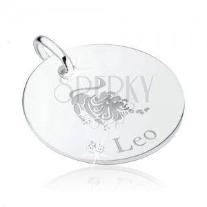 Okrągły srebrny wisiorek 925, ozdobnie grawerowane - znak Zodiaku LEW, cyrkonia obraz