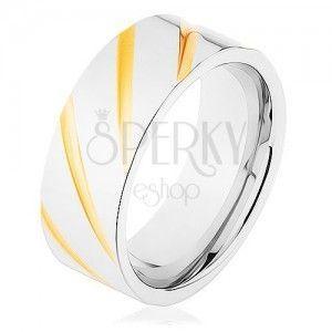 Obrączka ze stali 316L, powierzchnia srebrnego koloru, skośne rysy w złotym odcieniu obraz