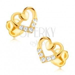 Diamentowe kolczyki w 14K złocie - zarys serca z mniejszym sercem i brylantami obraz