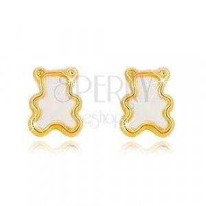 Kolczyki z żółtego 14K złota z naturalną perłą - miś obraz