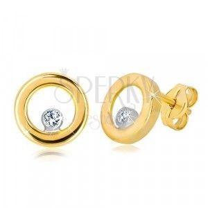 Kolczyki z białego i żółtego złota 585 - lśniące koło z cyrkonią obraz