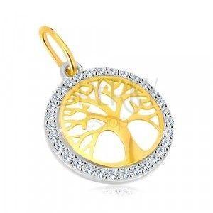 Zawieszka z kombinowanego 14K złota - okrąg z drzewem życia , błyszczące cyrkonie obraz