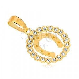 Zawieszka z żółtego 14K złota - cyrkoniowy okrąg i podkowa na szczęście obraz