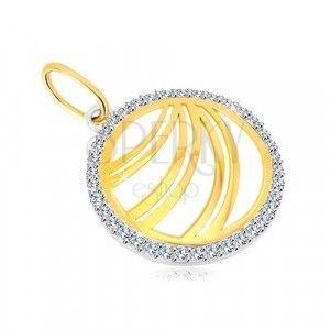 Złota zawieszka 585 - podwójna linia w cyrkoniowym pierścieniu z białego złota obraz