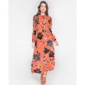 SELECTED Kiara Sukienka Czerwony Pomarańczowy obraz