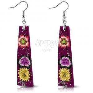 Kolczyki z masy Fimo - fioletowe prostokąty, kwiaty i brokat obraz