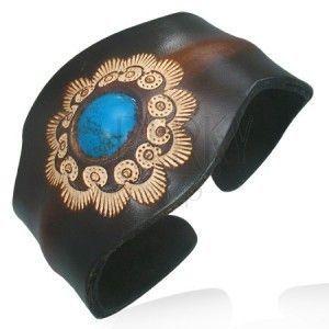 Skórzana bransoletka - elastyczna, słonecznik, turkusowa kulka obraz