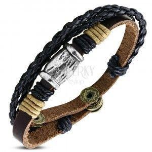 Multi bransoletka - brązowy pas z metalowym walcem i dwa warkocze obraz