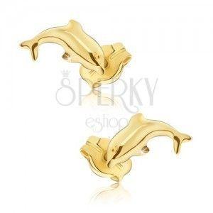 Kolczyki w żółtym złocie - lśniące skaczące delfiny obraz
