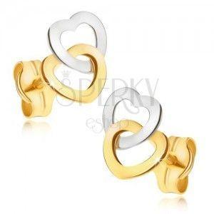 Złote kolczyki 585 - dwukolorowe lśniące kontury symetrycznych serc obraz