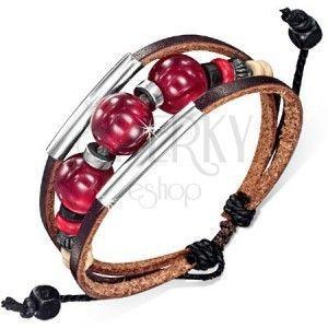 Multi bransoletka - dwa czekoladowe pasy skóry, sznurek, rurki, bordowe kulki obraz