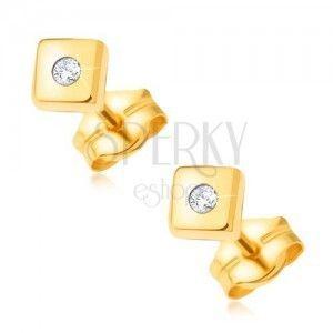 Złote lśniące kolczyki 585 - lśniące kwadraty z drobnym przezroczystym kamyczkiem na środku obraz
