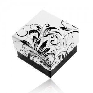 Pudełeczko prezentowe na pierścionek, wzór pnących liści, czarno-biała kombinacja obraz