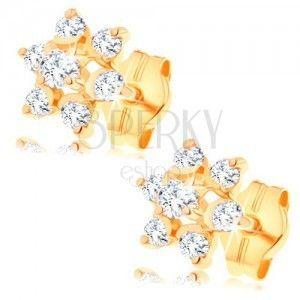 Złote kolczyki 585 - przezroczysty cyrkoniowy kwiatek, podwyższony środek, wkręty obraz