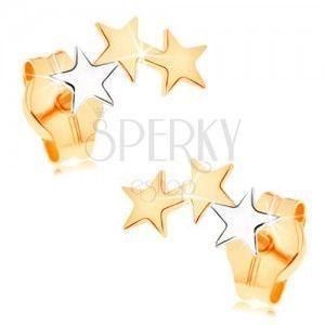 Złote kolczyki 585 - dwie gwiazdeczki z żółtego i jedna z białego złota obraz
