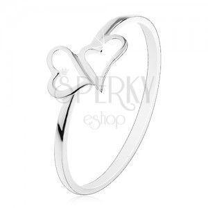 Srebrny pierścionek 925 - dwa asymetryczne kontury serc, cienkie ramiona obraz