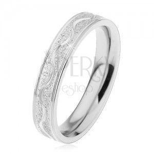 Stalowy pierścionek srebrnego koloru, piaskowany pas z lśniącą falą, 4 mm obraz