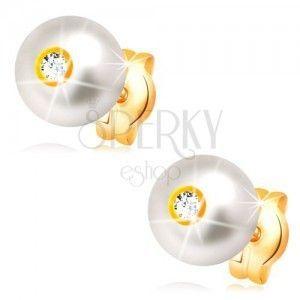 Złote 14K kolczyki - kremowo biała perła z lśniącą bezbarwną cyrkonią, 6 mm obraz