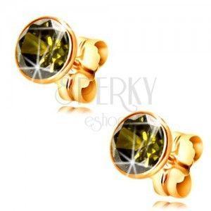 Złote 14K kolczyki - okrągła cyrkonia w kolorze oliwkowym w oprawie, 5 mm obraz