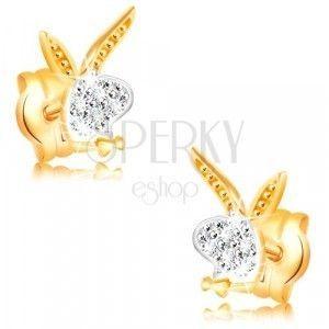 Kolczyki z 14K złota - głowa królika, białe i żółte złoto, cyrkonie obraz