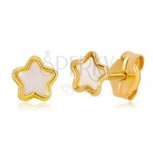 14K złote kolczyki z motywem gwiazdy z naturalną perłą obraz