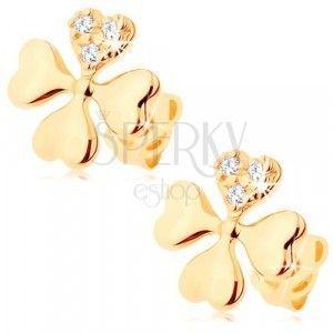 Diamentowe kolczyki z żółtego 14K złota - czterolistna koniczyna z czterech serc obraz