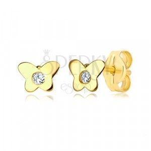 Kolczyki z 14K żółtego złota - motyl z bezbarwną cyrkonią, zapięcie na sztyft obraz