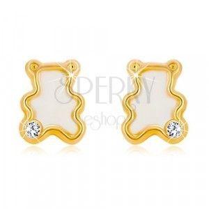 Kolczyki z żółtego 14K złota - miś z naturalną masą perłową i cyrkonią obraz