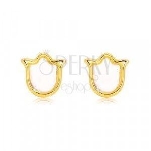 Kolczyki z żółtego złota 585 - tulipan z naturalną perłą obraz