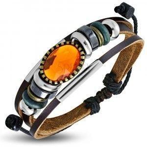Multi bransoletka - brązowe pasy skóry, różnokolorowe koraliki, pomarańczowa ozdoba obraz