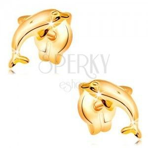 Kolczyki z żółtego 14K złota - skaczący delfin, błyszcząca wypukła powierzchnia obraz