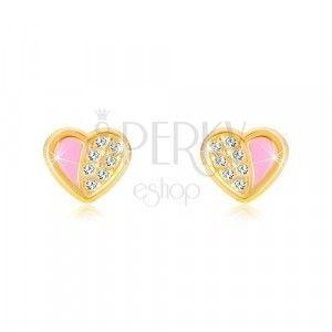 Kolczyki z 14K złota - symetryczne serce wyłożone cyrkoniami, różowa emalia obraz