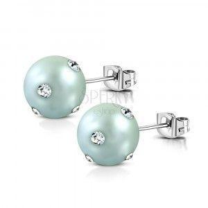 Kolczyki ze stali chirurgicznej - akrylowe niebiesko-szare perły, przezroczyste cyrkonie obraz