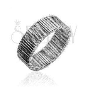 Stalowy pierścionek srebrnego koloru z plecionym drucianym wzorem, 8 mm obraz