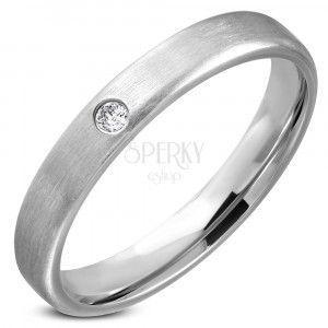 Stalowy pierścionek - srebrna obrączka z przeźroczystym kamyczkiem obraz