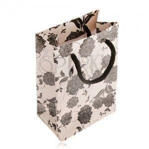 Torebka prezentowa na biżuterię w beżowym kolorze, czarne kwiaty, sznurek obraz