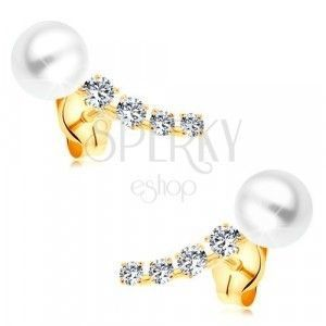 Złote 14K kolczyki, błyszczący cyrkoniowy łuk i biała okrągła perła białego koloru obraz