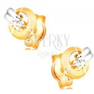 Kolczyki z 14K złota - świecący, bezbarwny diament w lśniącej obręczy, pasek z białego złota obraz