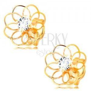 Brylantowe kolczyki z żółtego 14K złota - cienki kontur kwiatu z diamentem obraz