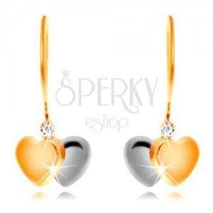 Kolczyki z 14K złota - dwukolorowe serce i bezbarwna cyrkonia na biglach obraz