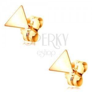 Kolczyki z żółtego złota 585 - lśniący płaski trójkąt, zapięcie na sztyft obraz