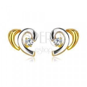 Kolczyki w kombinowanym 14K złocie - rozpołowione serce z brylantem obraz
