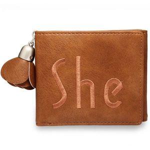 Brązowy portfel damski obraz
