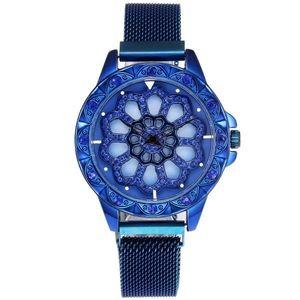 Zegarek magnetyczny Flowers - Niebieski obraz
