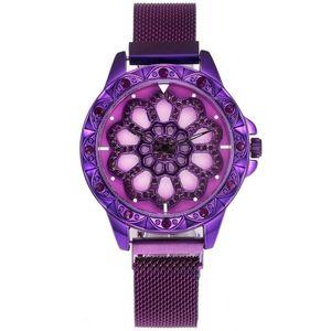 Zegarek magnetyczny Flowers - Fioletowy obraz