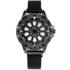 Zegarek magnetyczny Flowers - Czarny obraz