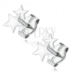 Kolczyki z białego złota 14K - dwie lśniące małe gwiazdki obraz
